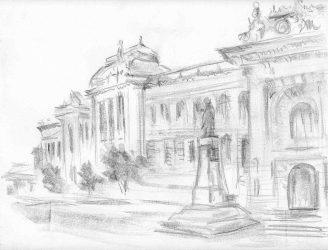 UAIC – desen în creion