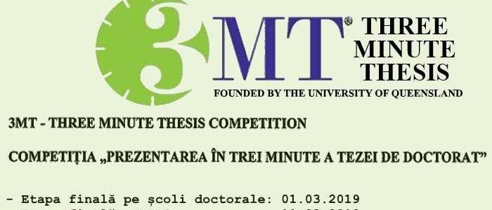 Regulamentul si calendarul competitiei 3MT pentru <br>anul universitar 2018-2019