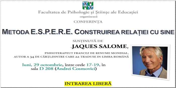 Conferinţă - METODA E.S.P.E.R.E. CONSTRUIREA RELAŢIEI CU SINE